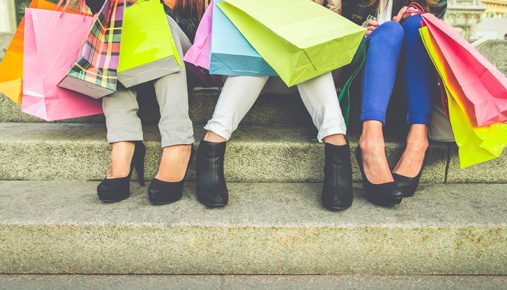 Shopping bags and feet