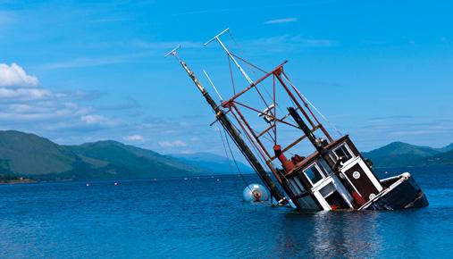 sinking fishing boat