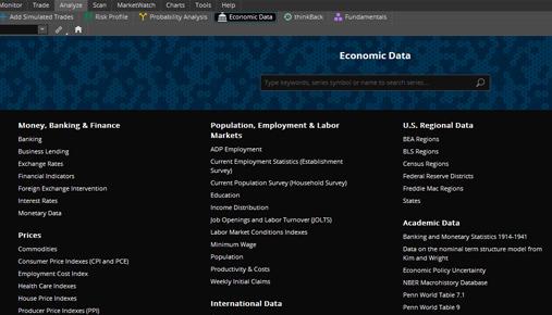 New Economic Data Tool on thinkorswim