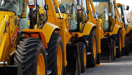Caterpillar Trucks in a Row