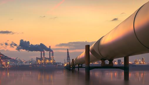 Image of energy sector company's oil refinery pipeline