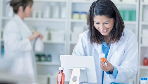 Pharmacist preparing prescription order