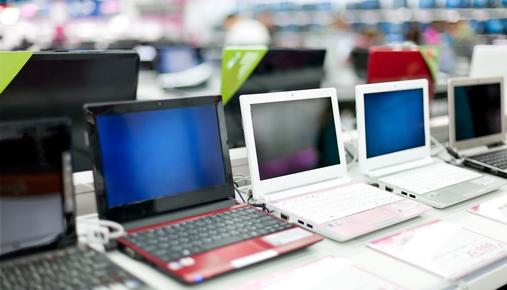 Row of computers at store