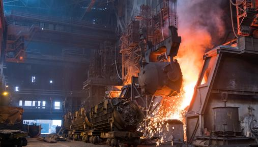 Steel being melted in a large plant