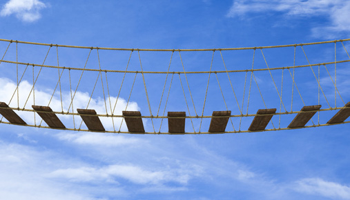 Risky foot bridge: Volatility indexes show low levels but above year-ago August lows.